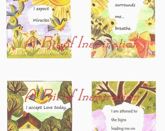 Printable Affirmation Cards, Downloadable Inpirational Quotes, ACEO Encouragement Cards, Inspirational Cards, Vintage Children's Book Cards