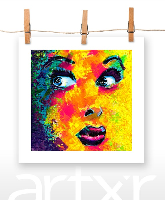 LUCY CHISELED SILHOUETTE V.01 10x10 Print of an Original Acrylic Painting ... Lucille Ball I Love Lucy