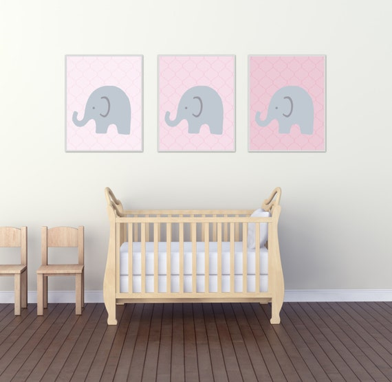 Elephant Nursery Wall Print, Pink Elephants Wall Art Prints, Pink and Gray Nursery Prints, Baby Girl Bedroom Decor N315,316,317