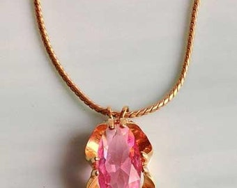 Lovely Large PINK CRYSTAL Pendant NECKLACE