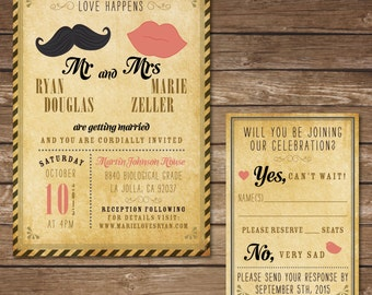 Printable Hipster Wedding Invitation with RSVP Card - Digital File