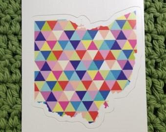 Vinyl Sticker - Ohio - Colorful Hipster Geometric Triangles Cleveland  - Laptop Sticker - Bumper sticker - Stocking Stuffers