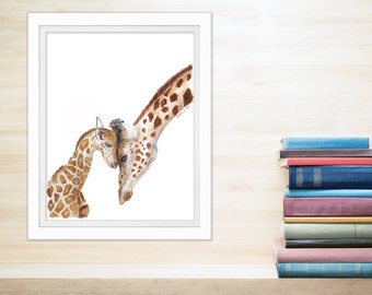 Giraffe Art, Giraffe Nursery Art, Mother and Baby Animal Art, Safari Nursery, Baby Giraffe, Giraffe Watercolor, Animal Art, Brown 8.5x11