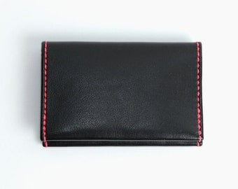 Mini Wallet Black Leather Handmade Cardholder