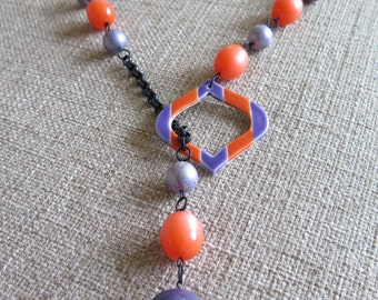 orange necklace, purple necklace, orange and purple, orange and lavender, lariat, orange lariat, purple lariat, retro lariat, mod lariat