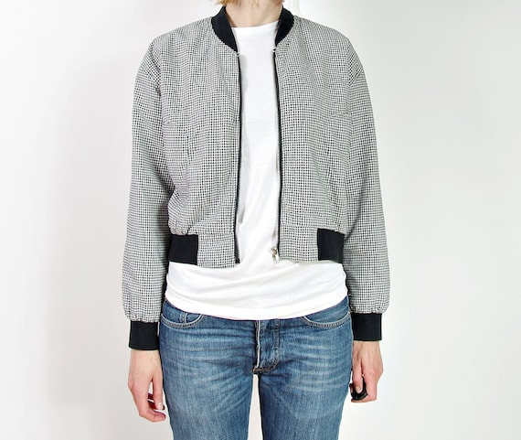 SALE - 80s Black & White Houndstooth Check Crop Bomber Jacket / Size L/XL or oversized