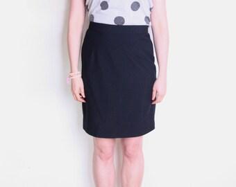 90's black pencil skirt, secretary skirt, office skirt, high waisted skirt, pin up skirt, minimalist skirt size large
