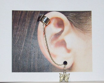 Sterling Silver EarCuff with Sapphire Stud and Butterfly Dangle