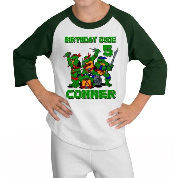 Personalized TMNT Teenage Mutant Ninja Turtles Birthday Raglan Shirt - tshirt custom
