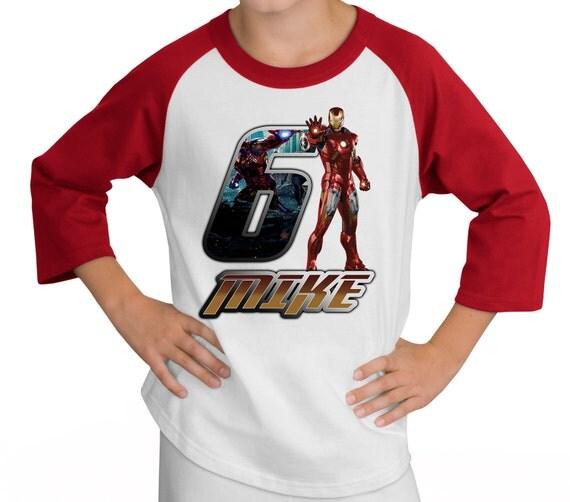 Personalized Iron Man Birthday Raglan Shirt - stark, marvel, comic book, superman, avengers, hulk, party
