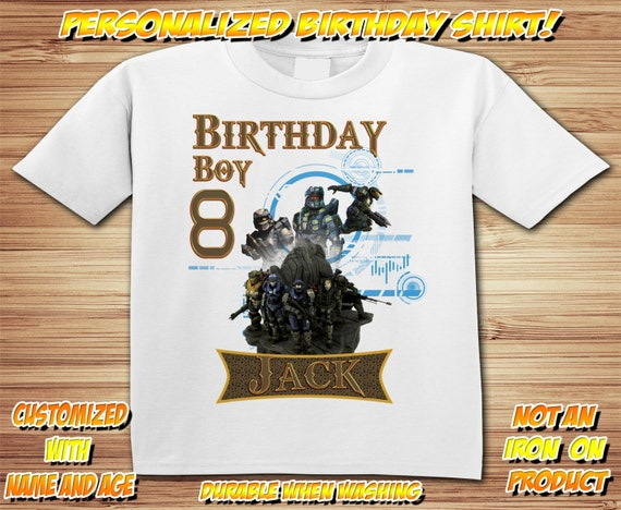 Personalized Halo birthday t-shirt - Master Chief, Video Game, Xbox, Party