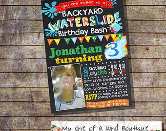 Waterslide Backyard Bash Party Invitation Birthday Water Slide Pool Invite Photo Chalkboard Digital Printable