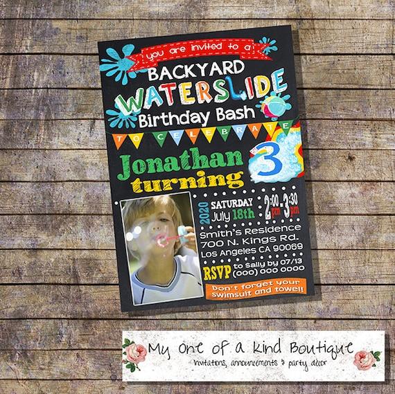 Waterslide Backyard Bash Party Invitation Birthday Party Water