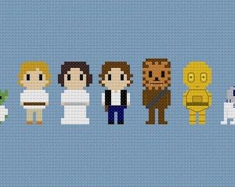 Star Wars Characters Cross Stitch Pattern