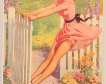 "Original Vintage Art Frahm ""Swing into Summer"" Pin Up Print"