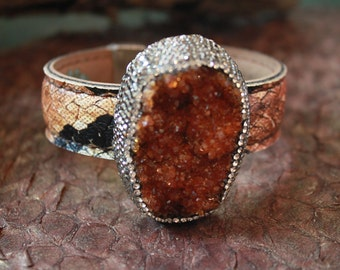 Fabulous CARNELIAN DRUZY Cuff! Set in Sterling Silver and swarovski crystals,Leather Cuff.