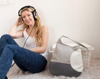 Color block bag tote beach wear canvas beach tote made in italy dark gray purse
