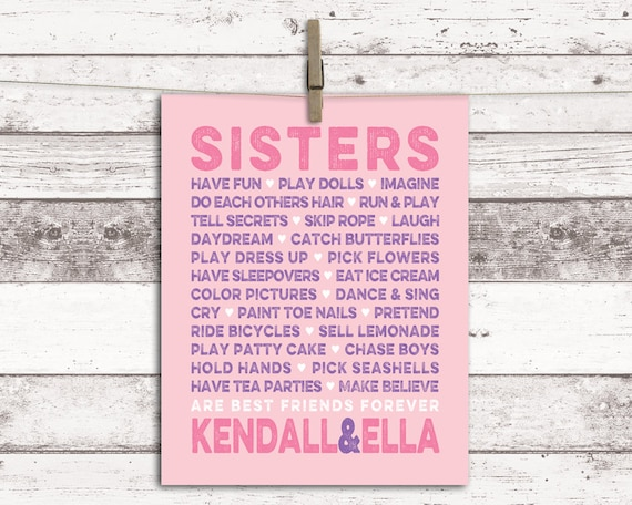 Il_570xn  sc 1 st  Catch My Party & Twin girls nursery art - sisters wall art - sisters room decor ...