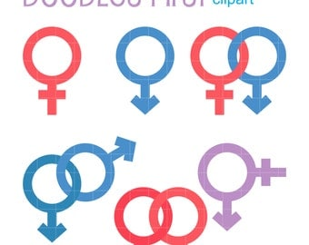 Male And Female Symbols Clip Art for Scrapbooking Card Making Cupcake Toppers Paper Crafts