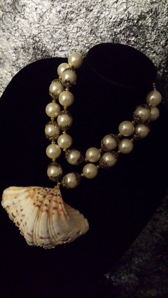 Mermaid Couture Pearl Shell Statement Necklace Big Bold