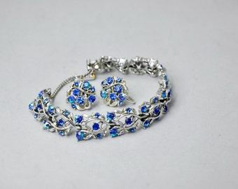 Longcraft Silver Blue Glass Rhinestone Bracelet Earrings Wedding Vintage Jewellery Set