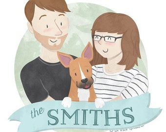 Custom Family Portrait Illustrated Style (up to 2 people and a pet)