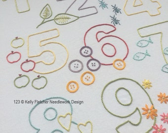 123 modern numbers hand embroidery pattern - modern embroidery PDF pattern, digital download