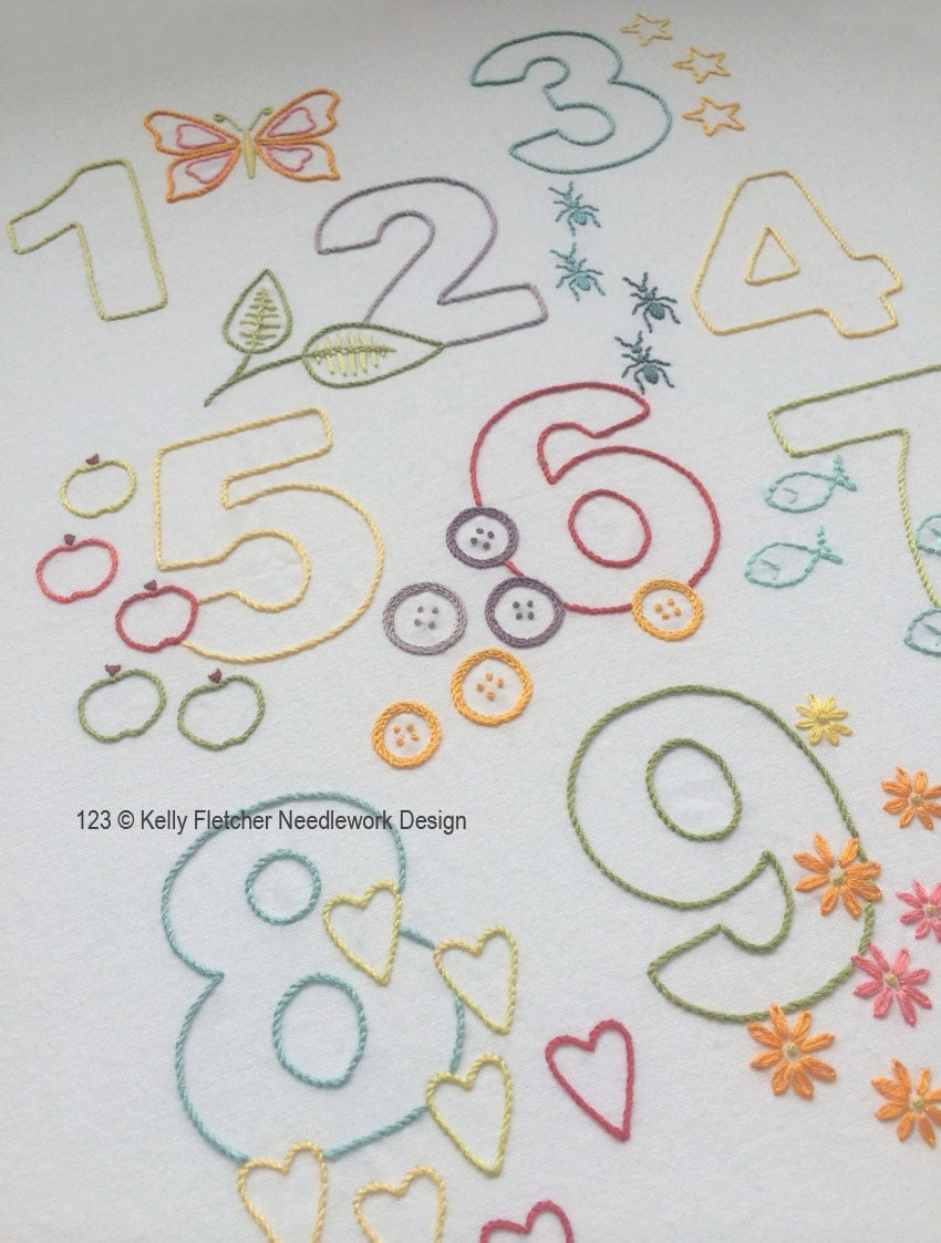 Modern numbers hand embroidery pattern