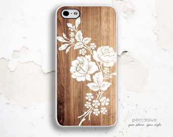 iPhone 6 Case White Rose - iPhone 6 Plus Case Rose, Floral Wood iPhone 5c Case, iPhone 5s Cover, Floral iPhone 6 Case Wooden Print :1007