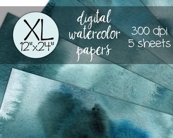 Blue Lagoon Digital Watercolor Paper, Extra Large Digital backgrounds, Digital Scrapbook, 12x12, 12x24, digital watercolor background,