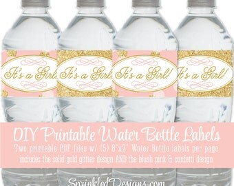 Printable Baby Shower Water Bottle Labels - It's a Girl - Blush Pink Gold Glitter Baby Girl - Drink Wraps Wrapper - INSTANT DOWNLOAD