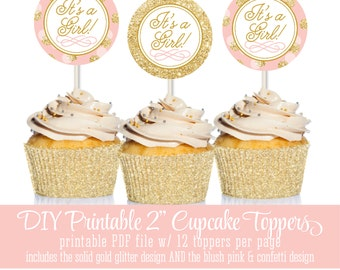 Printable Baby Shower Cake Cupcake Toppers 2 inch Party Circles - It's A Girl - Blush Pink Gold Glitter Confetti Dots - INSTANT DOWNLOAD