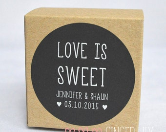 Personalised Wedding Favour Stickers - Love is Sweet - Black with White Ink - Sheet of 24