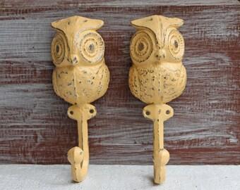Owl Hooks, Owl Nursery Decor, Yellow distressed Wall Hooks, Cast iron towel hooks, Decorative hooks, Bird Animal Hooks, Owl Decor, Set of 2