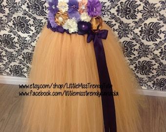 Gold and PurpleTutu Dress, Gold Couture Tutu Dress, Gold Flower Girl Dress, Gold Tutu Dress, Flower Girl Dress, Gold Dress, Girls Dress