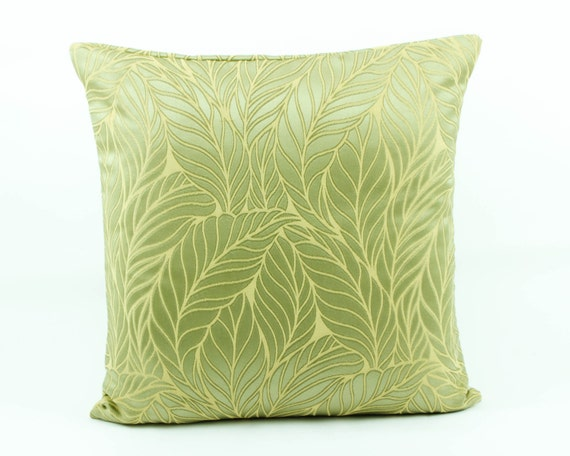 Decorative throw pillow cover 16x16 Lime Green Silk by Fabricasia