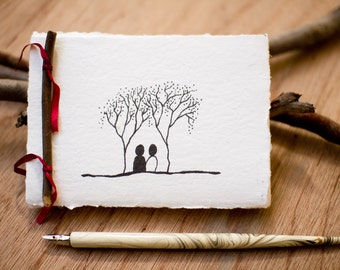 Wedding journal / guest book made from recycled handmade paper with Twin Trees design by Cliffwatcher