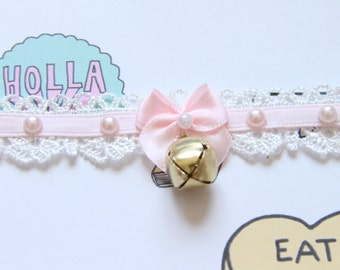 Kawaii Pink and Lace Neko Bell Choker with Pearl ascents