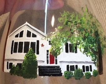 Housewarming Glass (custom house painting)
