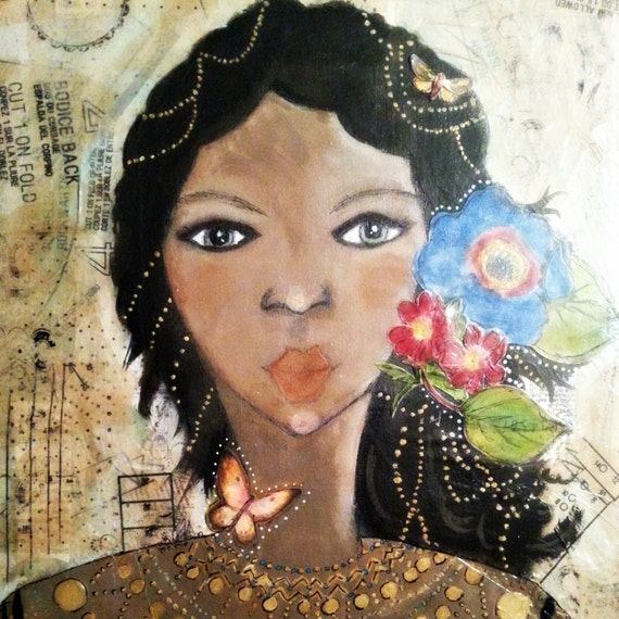 """One of a Kind Mixed Media Art. She Art. """"Naiobi"""" Created with Love and Ready to Ship. Nubian Beauty. African Beauty. Dark Skinned Beauty."""