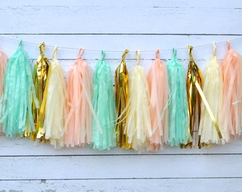 Peach Mint Tassel Garland Kit Rustic Chic Wedding Decor, Bridal Baby Shower Decorations, Mint Gold tissue Garland Peach tissue fringe banner