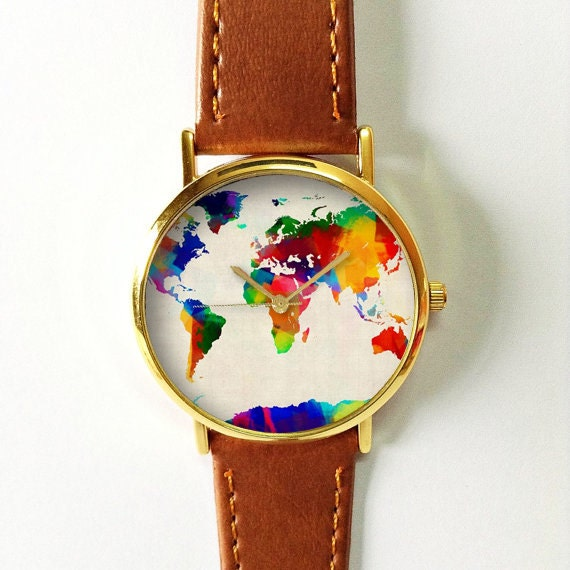 Digital Colored World Map Watch Leather Watch Women Watches