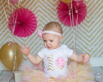 Pink Gold 3D Cupcake 1st Birthday Tutu Outfit