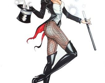 Zatanna - Pin up art - Comic Book Art - Comic Book Drawing - Wall Art - Comic Book Decor - Pin Up Decor - Comic drawing - Comic Book Poster