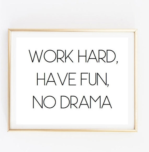 Work Hard Have Fun Inspirational Tumblr Quote Typographic Print Motivational Room Decor Framed