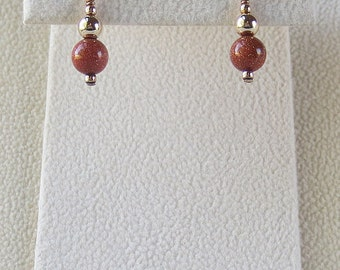 Copper Goldstone & 14kt Gold Filled Dangle Earrings with Gold Filled Accents (E83)