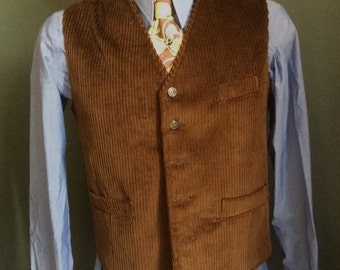 Limited edition Men's brown cotton corduroy vest 40's 50's style with pockets handmade by Casablanca Paris