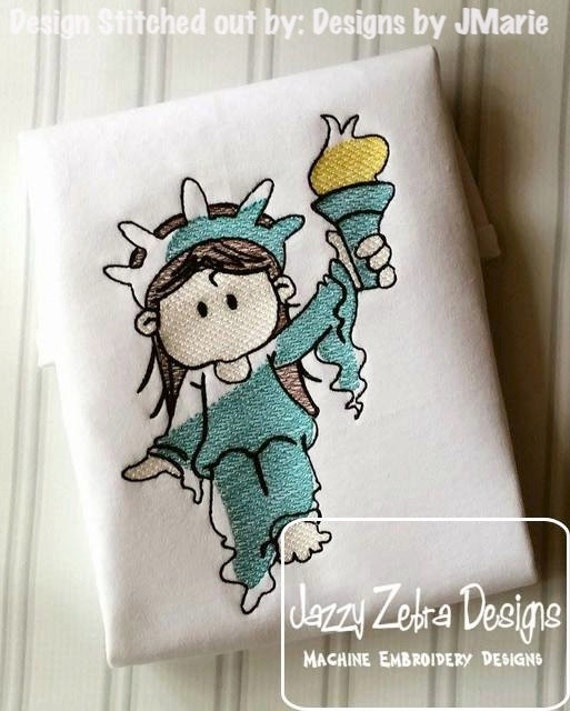 Lady Liberty Sketch Embroidery Design - 4th of july Sketch Embroidery Design - united states Sketch Embroidery Design - new york Sketch
