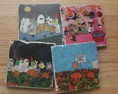 Set of 4 Tumbled Marble Tile Coasters - It's the Great Pumpkin, Charlie Brown