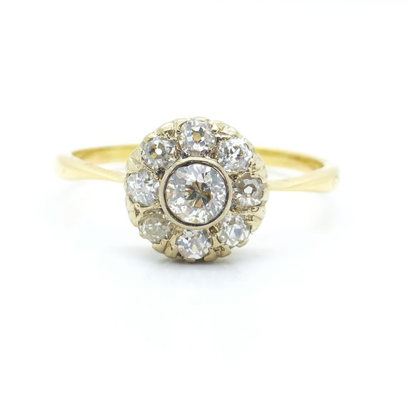 vintage cluster engagement ring by antiquejewelbox